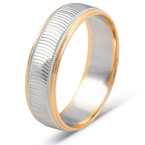 14k Gold Mens 6mm Two Tone Wave Cut Ring Wedding Band