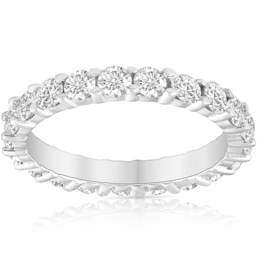 2 Ct Lab Created Diamond Eternity Ring Womens Wedding Band 14k White Gold ((I-J), VS1)