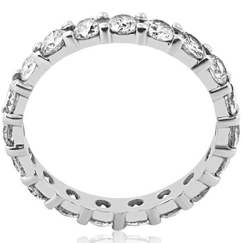 2 Ct Lab Created Diamond Eternity Ring Womens Wedding Band 14k White Gold ((I-J), SI(1)-SI(2))