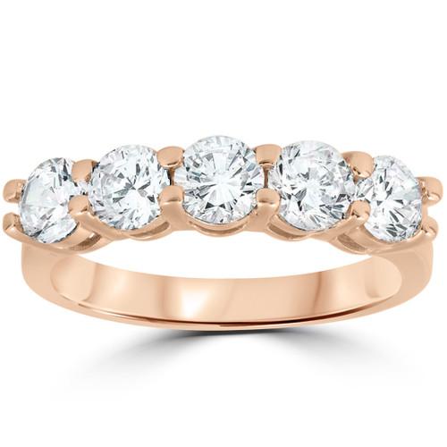 2 Ct Five Stone Diamond Wedding Ring Anniversary Womens Band 14k Rose Gold (H/I, I1-I2)