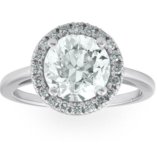 1 1/2 Ct Halo Round Diamond Low Profile Engagement Ring 14k White Gold Enhanced (G/H, SI2)