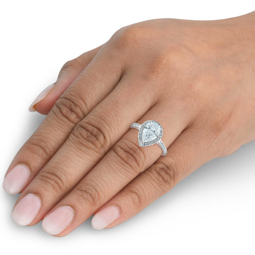 1 1/3 Ct Halo Pear Shape Diamond Low Profile Engagement Ring White Gold (G/H, SI2)