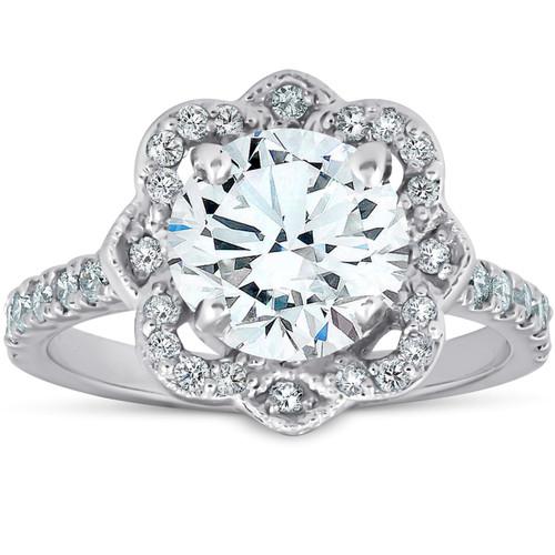 1 3/4Ct Vintage Halo Diamond Designer Engagement Ring 14k White Gold (H/I, SI1-SI2)