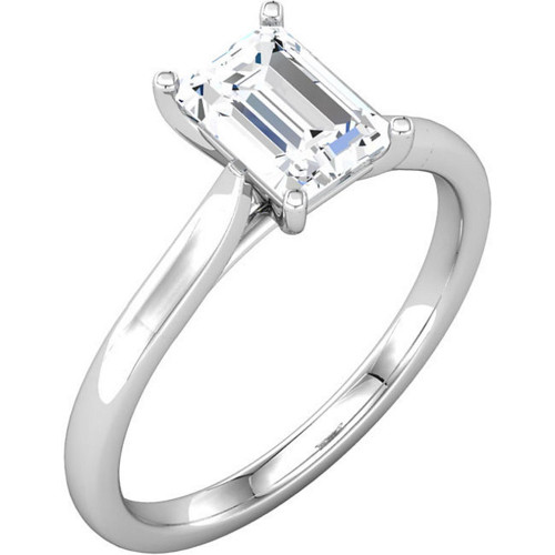 1 Ct Emerald Diamond Solitaire Engagement Ring 14k White Gold (G/H, SI2-I1)