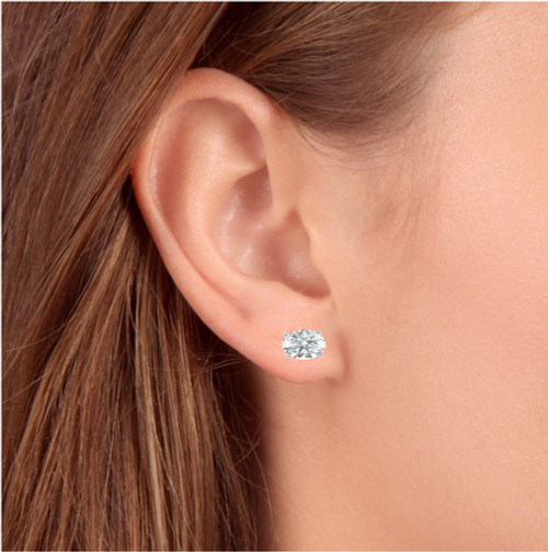 1 1/4 Ct Diamond Screw Back Studs 14k White Gold Lab Grown Eco Friendly (I, VS)