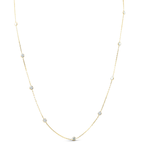 2 TCW Diamond Bezel Station Necklace 14k Yellow Gold (G-H, SI)