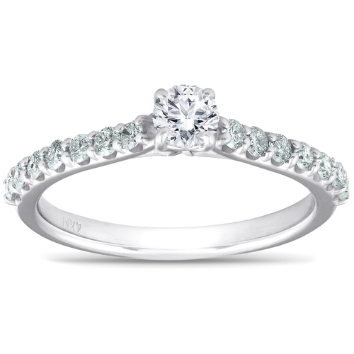 3/4 Ct TDW Diamond Side Stone Engagement Ring 14k White Gold (G/H, I1-I2)