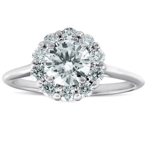 1 1/2 Ct Halo Round Diamond Engagement Ring 14k White Gold Lab Created (((G-H)), SI(1)-SI(2))