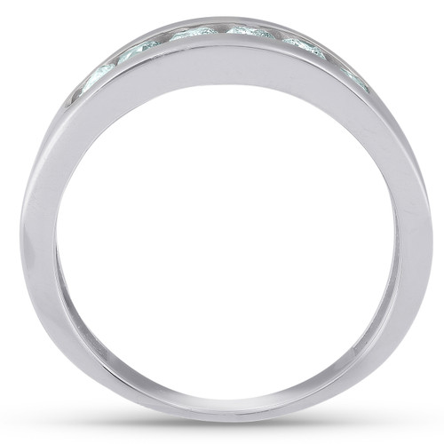 1Ct Diamond Channel Set Polished Wedding Band Mens Ring 14k White Gold Lab Created (G/H, VS2-SI1)