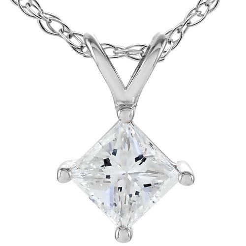 1/2 Ct Princess Cut Solitaire Diamond Pendant 14K White Gold Enhanced (G/H, SI)