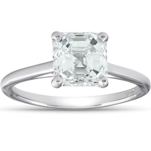 2 Ct Asscher Cut Diamond Solitaire Engagment Ring Platinum (G/H, SI1-SI2)