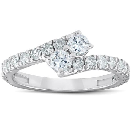 1 Ct Two Stone Diamond Forever Us Anniversary Engagement Ring 10k White Gold (G/H, I1-I2)