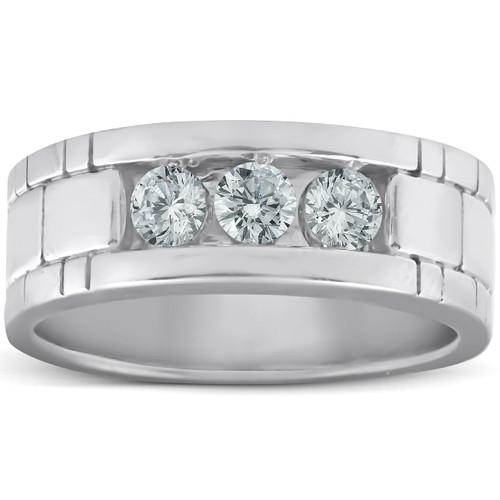 10k White Gold 1 Ct Three Stone Mens Heavy Weight Anniversary Ring (H/I, I1-I2)