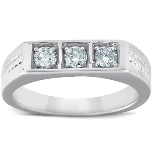 10k White Gold 5/8 Ct 3-Stone Mens Braided Heavy Weight Ring Wedding Band (H/I, I1-I2)