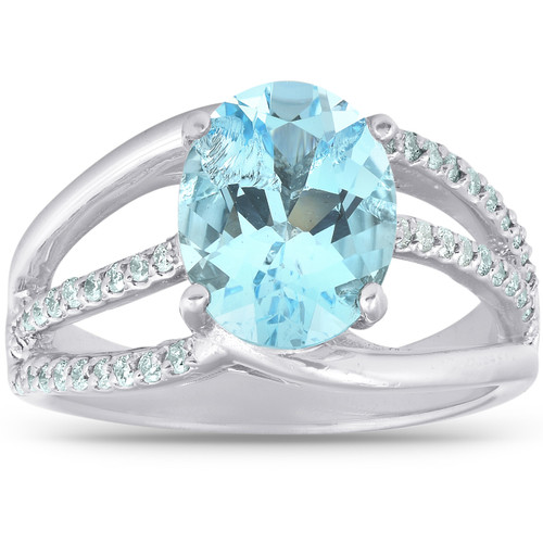 3 3/4 Ct TW Large Oval Blue Topaz & Diamond Ring 10k White Gold (H/I, I1-I2)