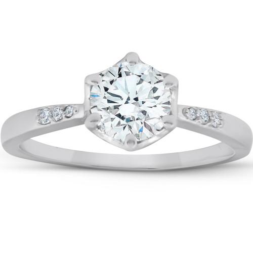 1 1/10Ct TDW Diamond Round Cut Vintage Engagement Ring 14k White Gold (G/H, SI1-SI2)