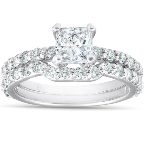 2 Ct Princess Cut Diamond Engagement & Wedding Ring Set 14k White Gold (G/H, SI1-SI2)