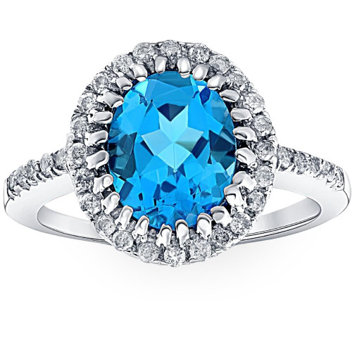 4 3/4 Ct Oval Blue Topaz Diamomnd Halo Ring 14k White Gold (H/I, I1-I2)