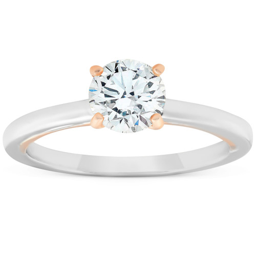 1 Ct Diamond Solitaire Two Tone Engagement Ring 14k White & Rose Gold (G/H, SI1-SI2)