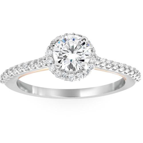 1 3/8Ct Diamond & Moissanite Halo Two Tone Engagement Ring 14k Rose & White Gold (G/H, VS1-VS2)