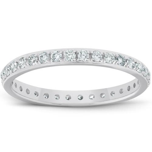 1/2ct Lab Grown Created Diamond Wedding Ring Womens Eternity Band 10k White Gold (G/H, VS)