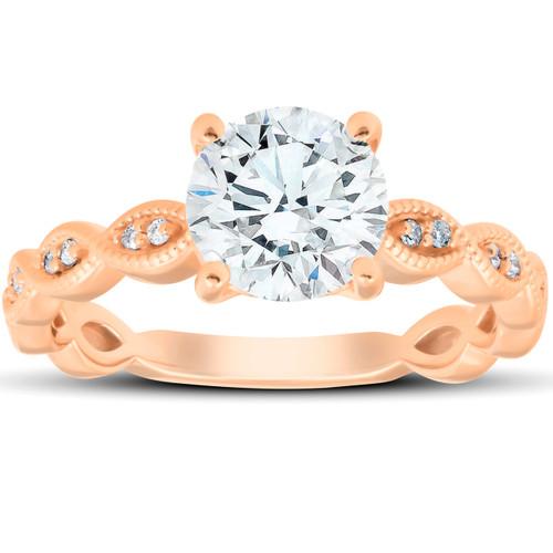 2 1/10Ct Diamond & Moissanite Vintage Engagement Ring 14k Rose Gold (G/H, VS1-VS2)