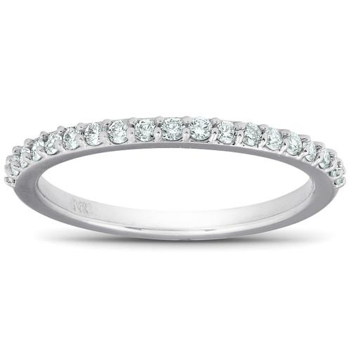 1/4Ct Diamond Ring Matching Engagement Band 14k White Gold (H/I, I1-I2)