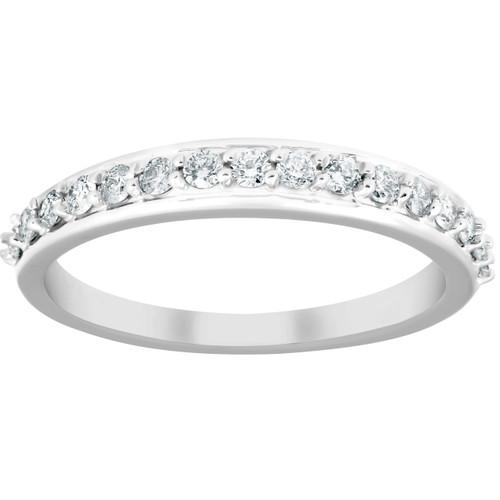1/3Ct Diamond Wedding Ring 14k White Gold Womens 16 Stone Band (H/I, I1-I2)