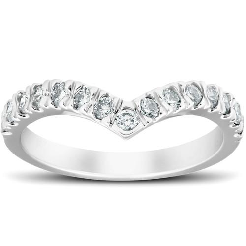 1/2 Ct Diamond Curved V Shape Contour Ring Womens Wedding Band 14k White Gold (H/I, I1-I2)