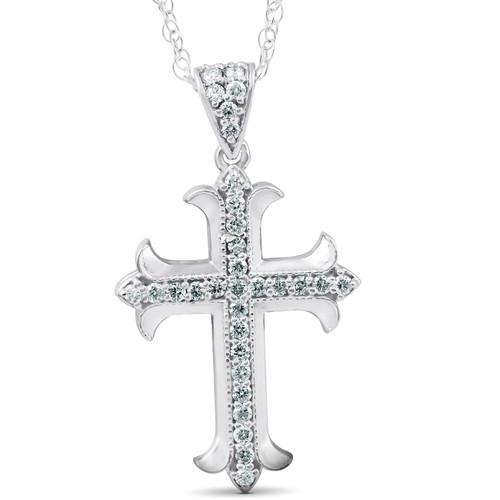 "1/3Ct Diamond Cross 14k White Gold 1"" Tall (G/H, I1)"