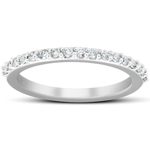 1/4Ct Diamond Ring Matching Stackable Engagement Band 14k White Gold (H/I, I1-I2)
