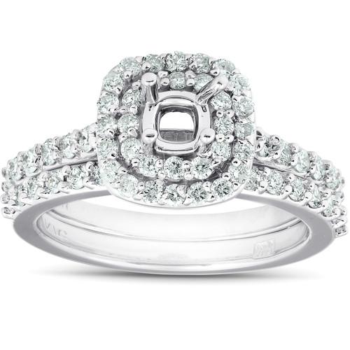 3/4Ct Double Cushion Halo Diamond Engagement Ring Setting Mount 14k White Gold (H/I, I1-I2)