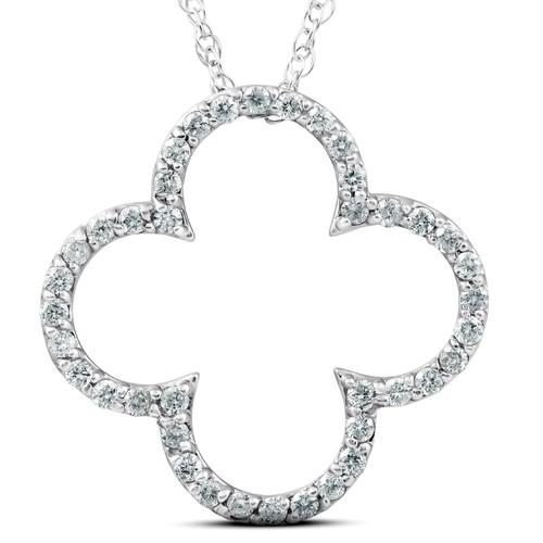 3/8 Ct Diamond Clover Designer Pendant 14k White Gold (H, I2)