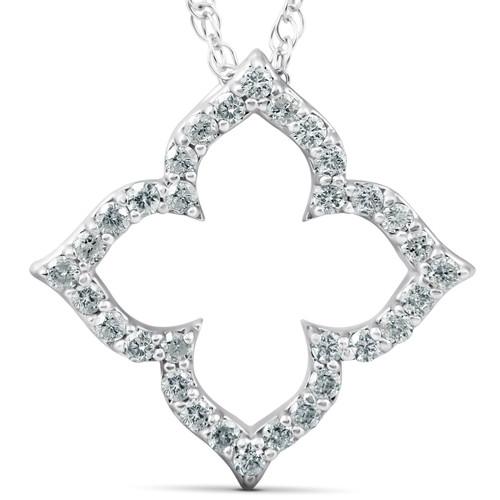 1/3 Ct Diamond Floral Designer Pendant 14k White Gold (H, I2)