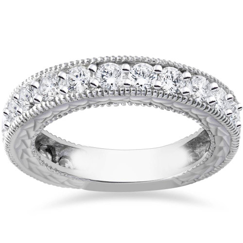 1 5/8ct Lab Created Diamond Ring Vintage Aqntique Filigree 14K White Gold (F, SI(1)-SI(2))
