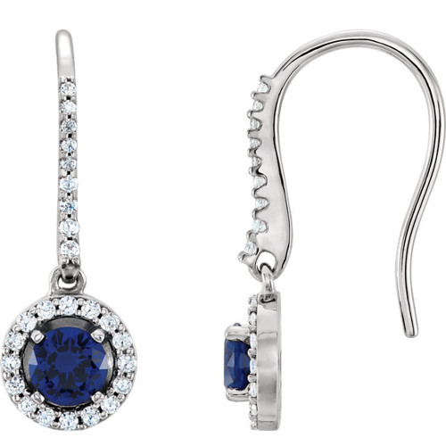 1 3/8ct Oval Blue sapphire & Diamond Halo Hoops Dangle Lever Back Earrings 18K (G-H, I1)