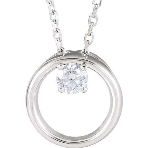 1/10 Ct Diamond Solitaire Circle Pendant 14k White Gold Necklace 9.7MM (G-H, SI1-SI2)