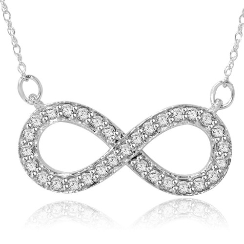 1/3ct Diamond Infinity Symbol Pendant 14K White Gold (G/H, I2)