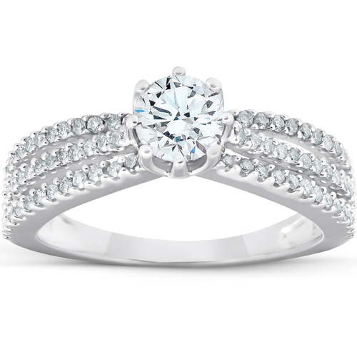 1 Ct Diamond Engagement Ring Multi Row 14k White Gold (H/I, I1-I2)