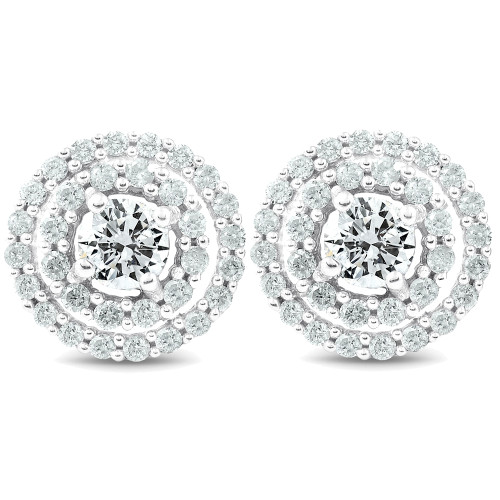 1 Ct Genuine Diamond Double Halo Studs Large Women Earrings White Gold 10.2MM (J-K, I2-I3)