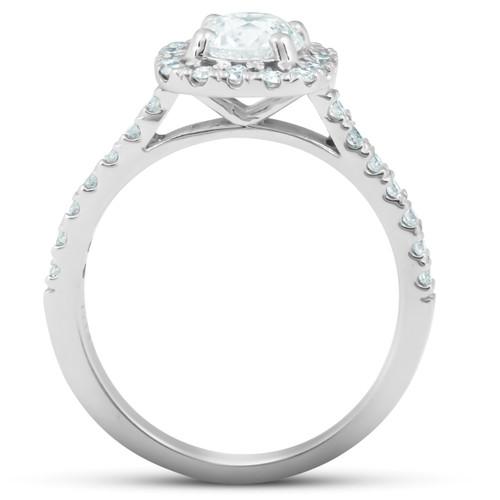 1.75 Ct Cushion Halo Diamond Engagement Ring 14k White Gold (G/H, SI1-SI2)