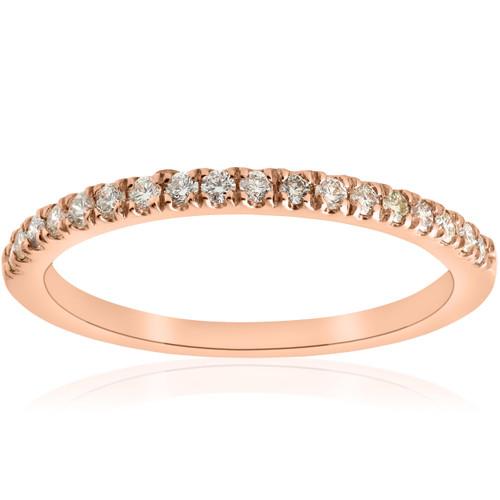1/4ct Diamond Ring Stackable Engagement Womens Wedding Band 14K Rose Gold (H/I, I1-I2)