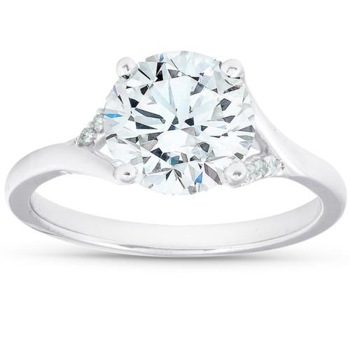 2 1/2 Ct Moissanite & Diamond Engagement Ring 14k White Gold (G/H, VS1-VS2)