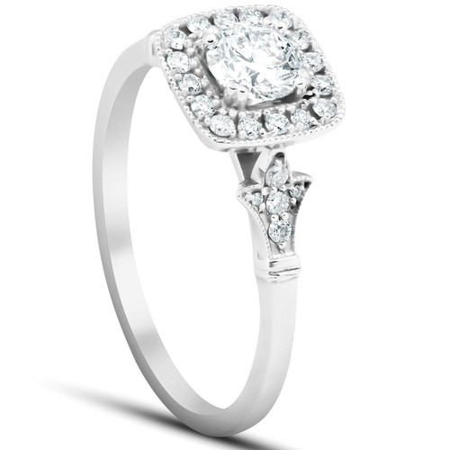 1/2 Ct Cushion Halo Diamond Pave Engagement Ring 14k White Gold (H/I, I1-I2)