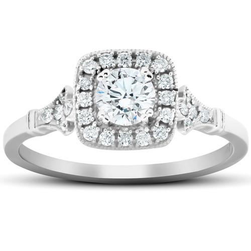 1/2 Ct Cushion Halo Diamond Pave Engagement Ring 14k White Gold (H/I, I1-I2)