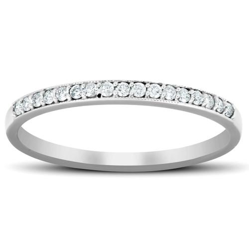 1/5 Ct Diamond Wedding Ring 14k White Gold Stackable Anniverary Band (H/I, I1-I2)