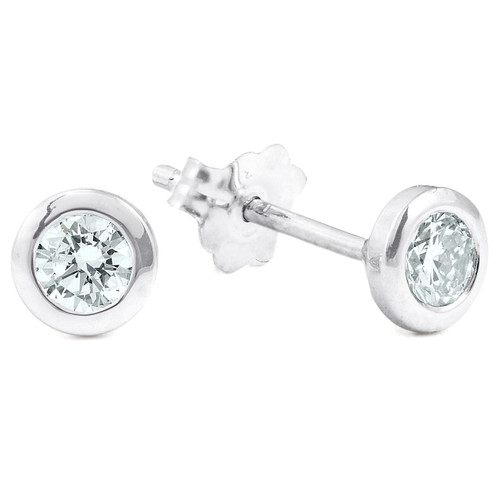 1/4 ctw 14k White Gold Diamond Bezel Martini Stud Earrings Lab Grown (G, VS)