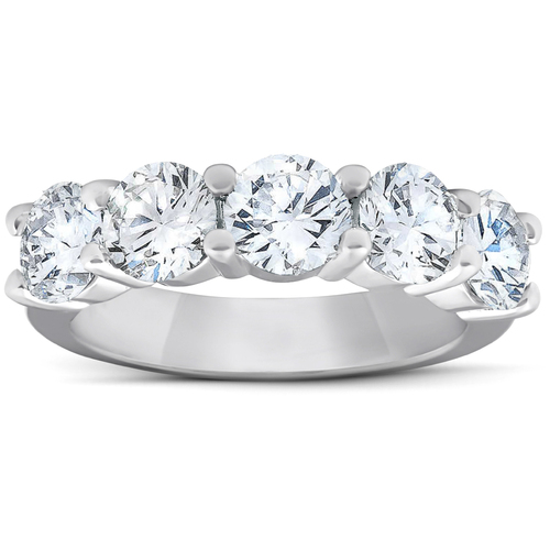 2 3/4 Ct Five Stone Diamond Wedding Ring 14k White Gold (H/I, I1-I2)