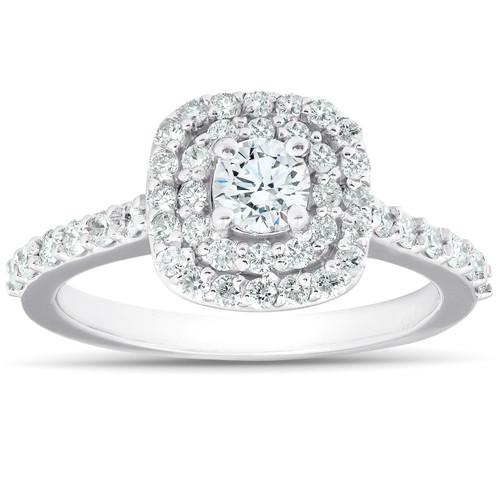 3/4Ct Diamond Cushion Double Halo Engagement Ring 14k White Gold (G/H, I1-I2)