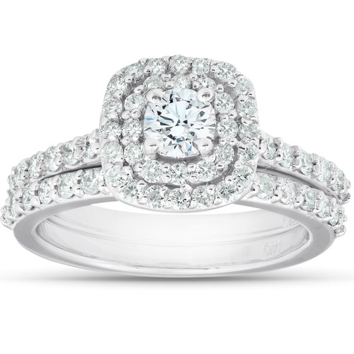 1 1/10Ct Cushion Halo Diamond Halo Engagement Wedding Ring Set 14k White Gold (G/H, I1-I2)